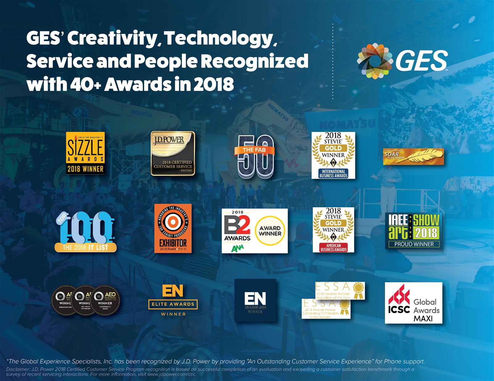 GES' Creativity, Technology, Service and People Recognized with 40 plus Awards in 2018
